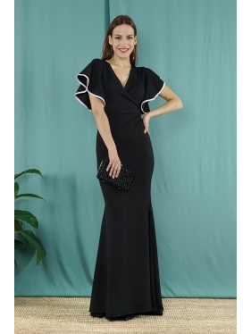 Kol Volan Detay Uzun Elbise