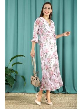 Çicek Desenli Şifon Elbise