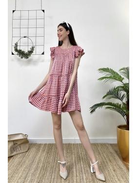 Kolu Volanlı Mini Elbise