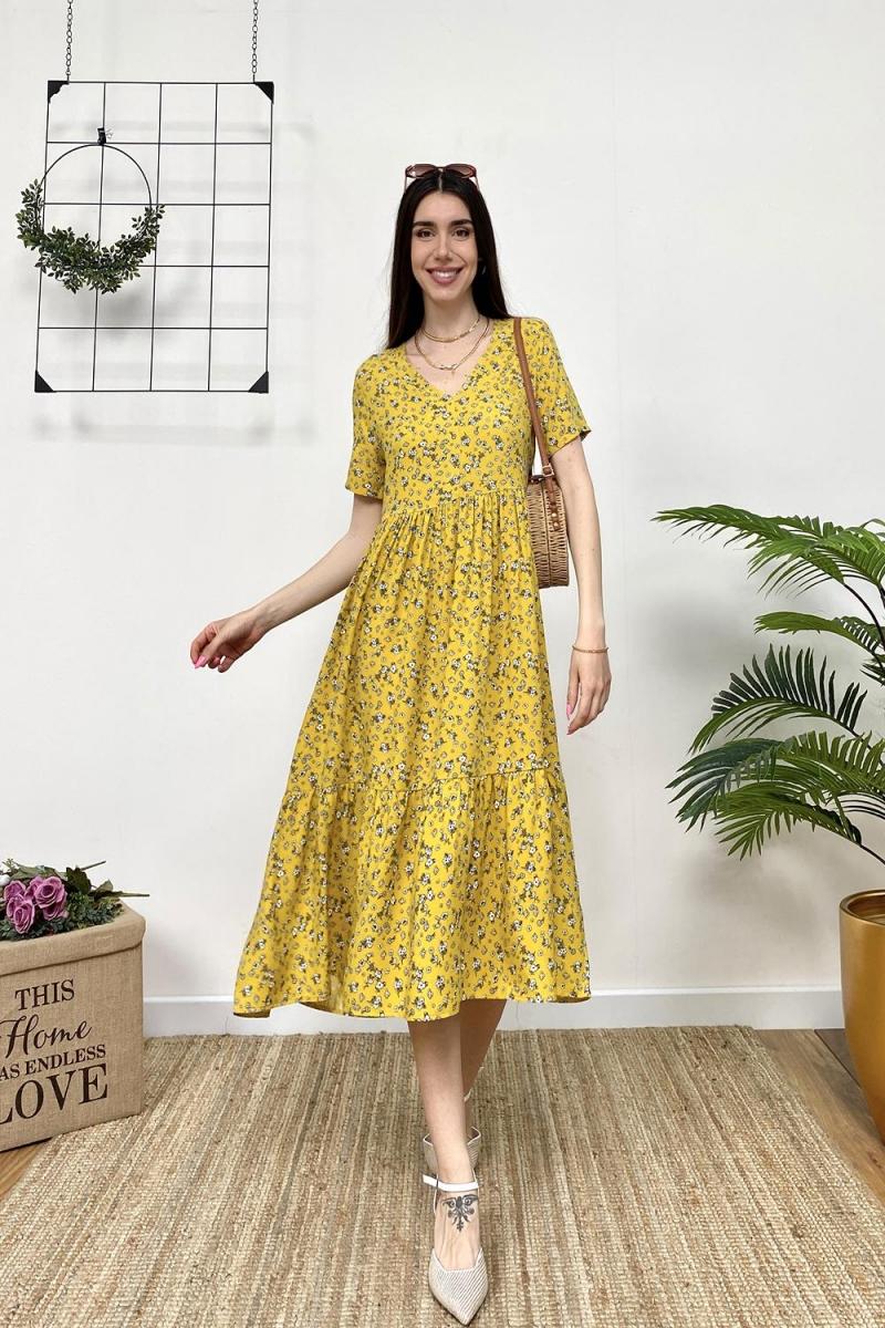 Viskon Çiçek Desen Elbise