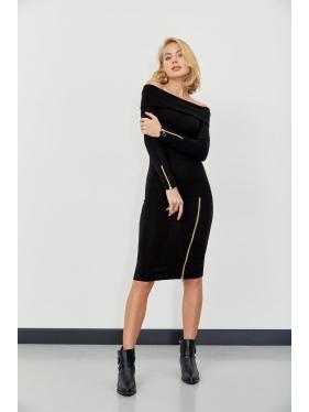 Straplez Kol Fermuar Detay Elbise
