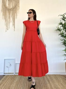 Omuz Vatkalı Kırmızı Elbise