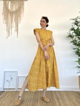 Kuşaklı Vatkalı Sarı Elbise