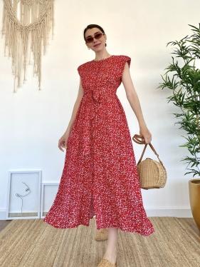 Kuşaklı Vatkalı Kırmızı Elbise