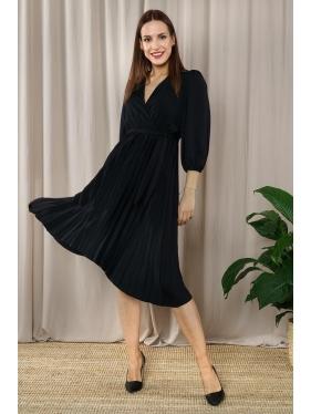 Eteği Piliseli Kruvaze Elbise