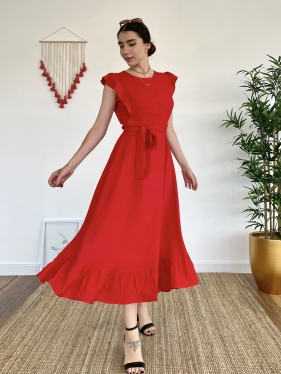 Kuşak Detay Kırmızı Elbise