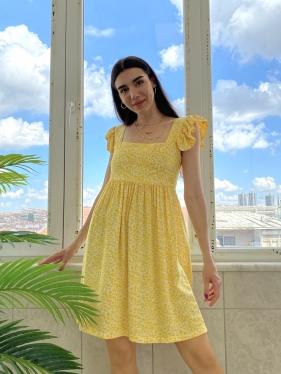 Fırfır Detay Sarı Elbise