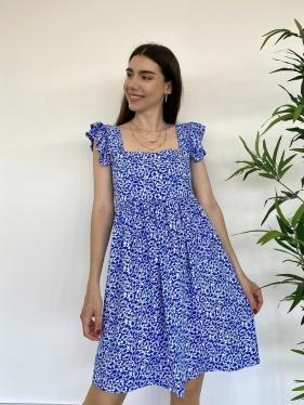 Fırfır Detay Mavi Elbise