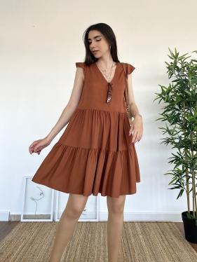Keten Kol Volanlı Kahverengi Elbise