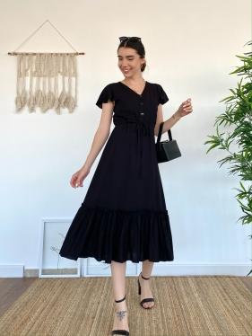 Kuşak Detay Viskon Siyah Elbise