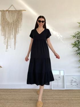 Keten Kruvaze Yaka Siyah Elbise