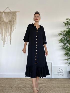 Kol Fırfırlı Siyah Uzun Elbise