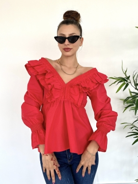 Fırfırlı Kırmızı Bluz