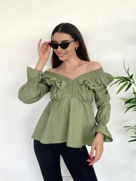 Fırfırlı Yeşil Bluz
