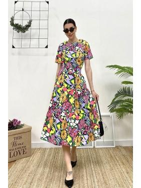 Çiçek Desen Kuşaklı Elbise