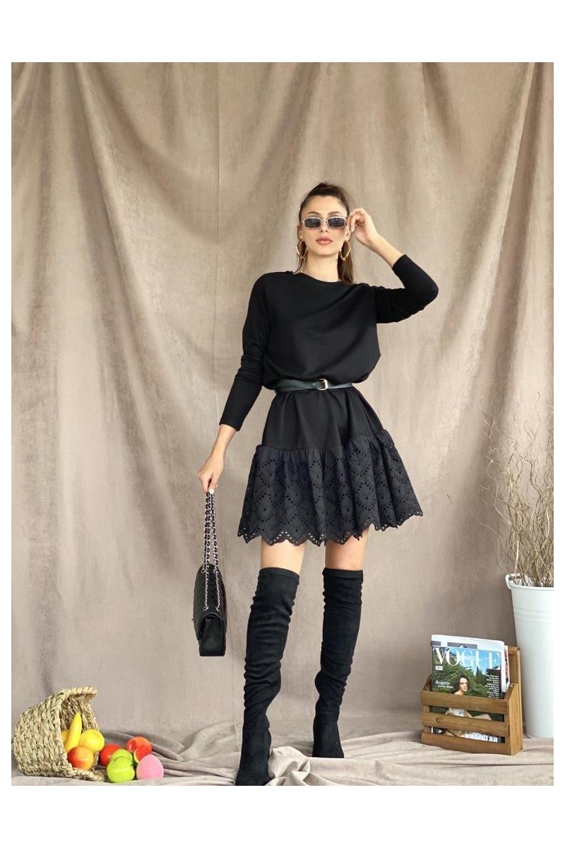Fisto Etek Siyah Elbise