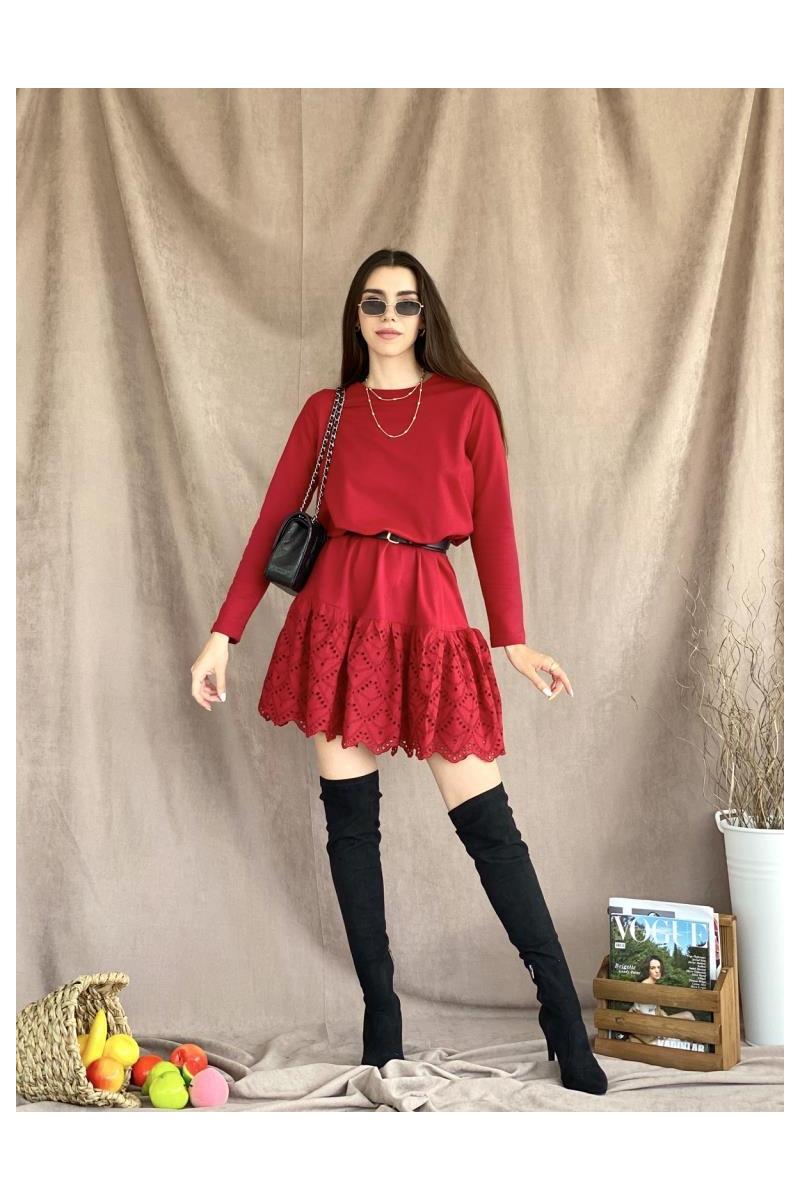 Fisto Etek Bordo Elbise