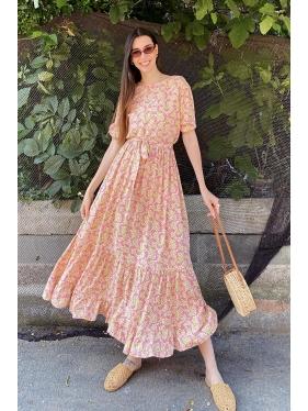 Yaka Detay Çiçek Desen Elbise