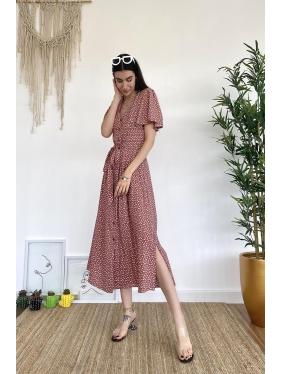 Kalp Desen Kuşaklı Kiremit Elbise