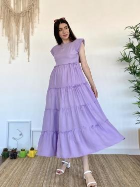 Omuz Vatkalı Lila Elbise