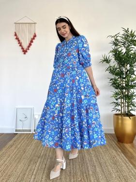 Çiçek Desenli Uzun Mavi Elbise