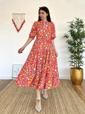 Çiçek Desenli Uzun Narçiçeği Elbise