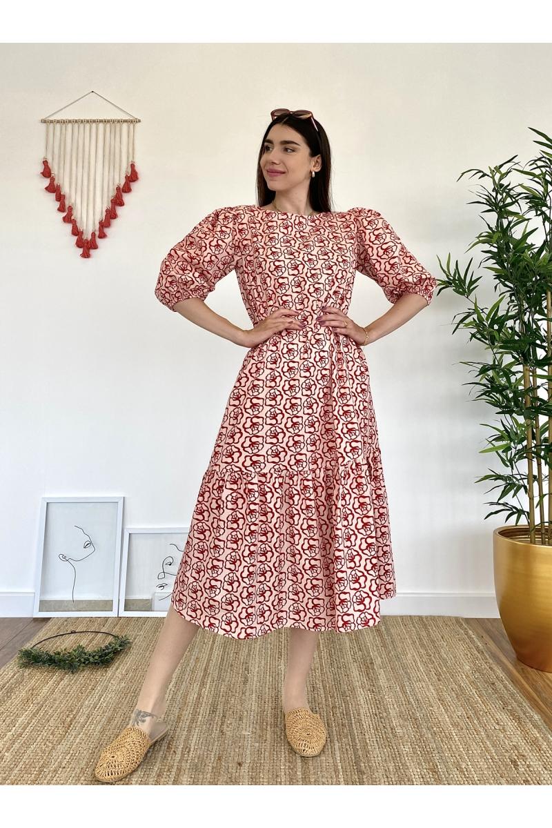 Gül Desen Kırmızı Elbise