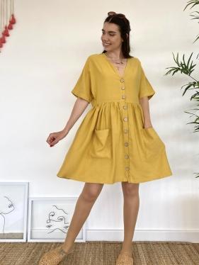 Cepli Keten Hardal Elbise