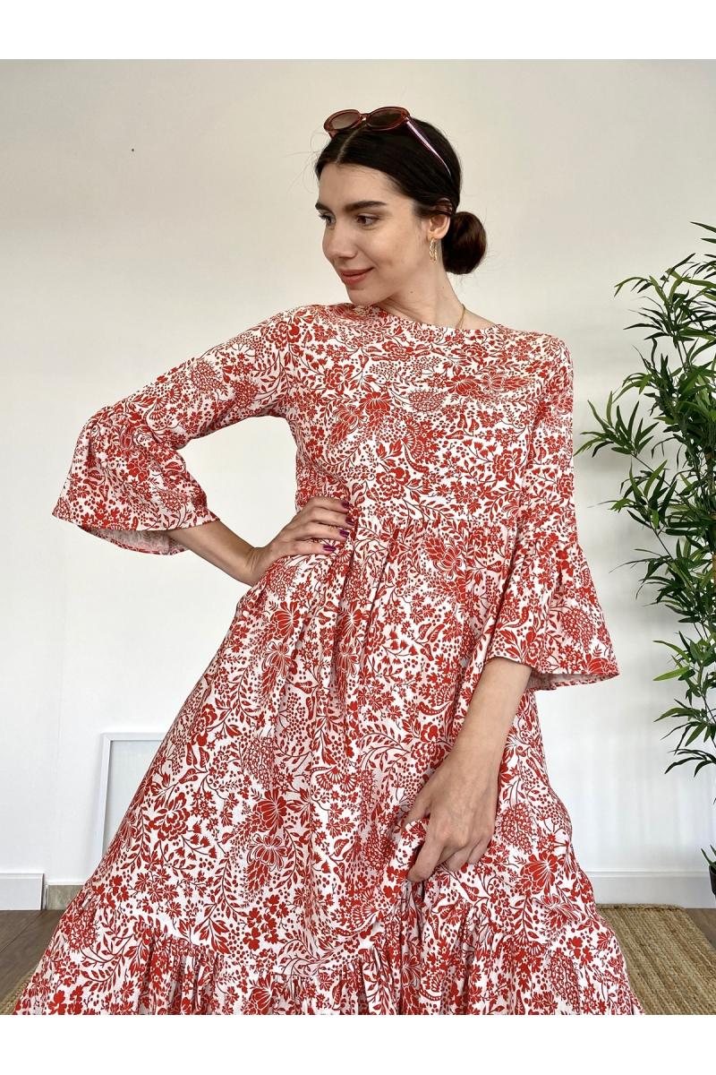 Çiçek Desenli Kırmızı Keten Elbise