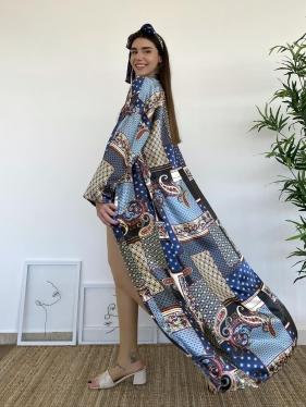 Kuşaklı Lacivert Kimono