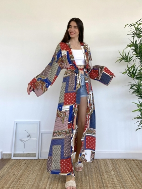 Kuşaklı Kırmızı Kimono