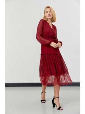 Güpür Detay Şifon Elbise