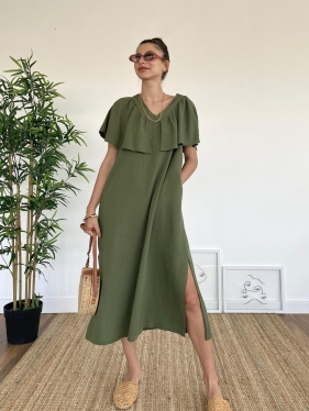 Kat Detay Haki Elbise