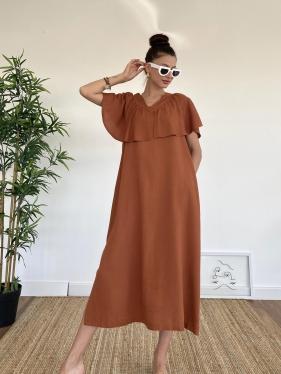 Kat Detay Kahverengi Elbise