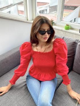 Gipeli Kırmızı Bluz