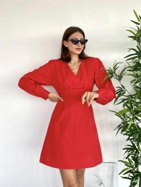 Poplin Kısa Kırmızı Elbise