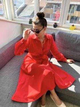 Kırmızı Gömlek Elbise