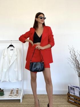 Kırmızı Şortlu Ceket Takım