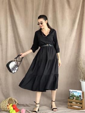 Yarım Patlı Uzun Siyah Elbise