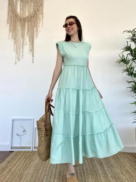 Omuz Vatkalı Su Yeşili Elbise
