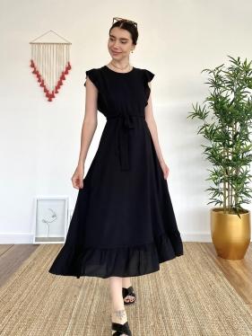 Kuşak Detay Siyah  Elbise