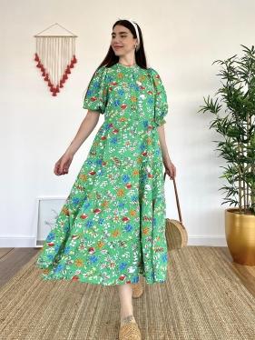 Çiçek Desenli Uzun Yeşil Elbise