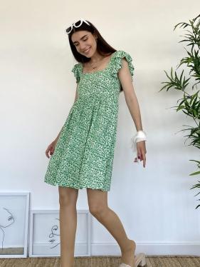 Fırfır Detay Yeşil Elbise