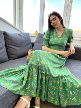 Bel Detay Desenli Yeşil Elbise