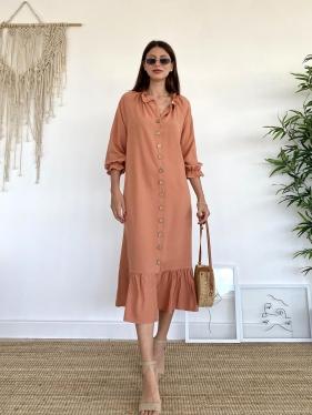 Kol Fırfırlı Somon Uzun Elbise