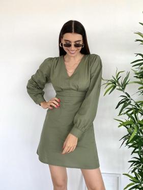Poplin Kısa Yeşil Elbise