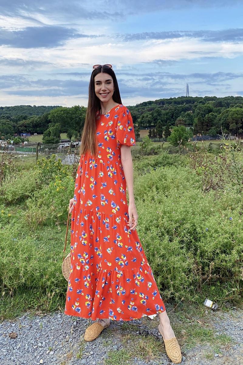 Çiçek Desen Uzun Elbise
