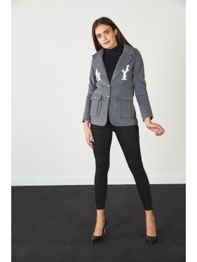 Nakış Detay Kaşe Ceket