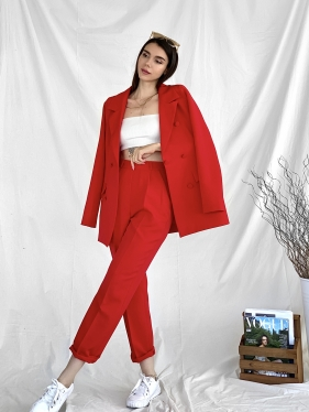 Kırmızı Pantolon Ceket Takım