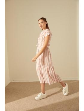 Çizgi Detay Crep Elbise